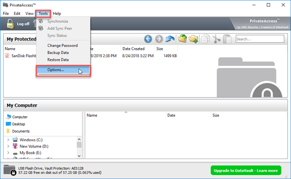 Backing up or restoring data in PrivateAccess vault